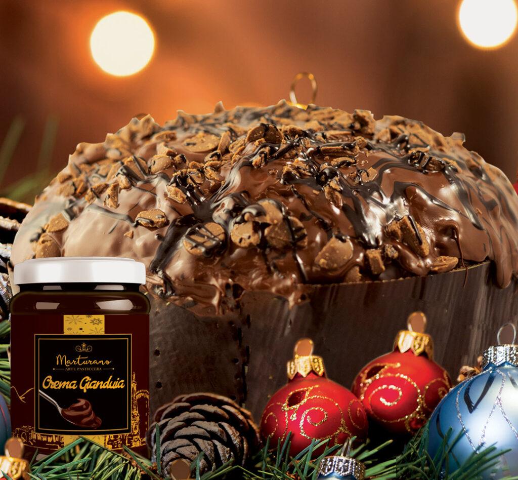 Panettone marturano gianduia con buccacciello crema gianduia natalizio